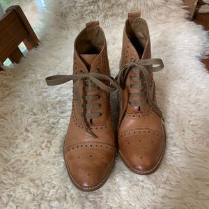 ANTHROPOLOGIE OXFORD GENUINE LEATHER STUD BOOTIES